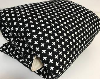 Black Cross on White Round Play Mat // Padded Mat   // Playmat