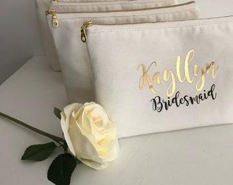 Cosmetic Bag Personalised , Bridesmaid Cosmetic Pouch , Cosmetic Bag , Bridesmaid Gift
