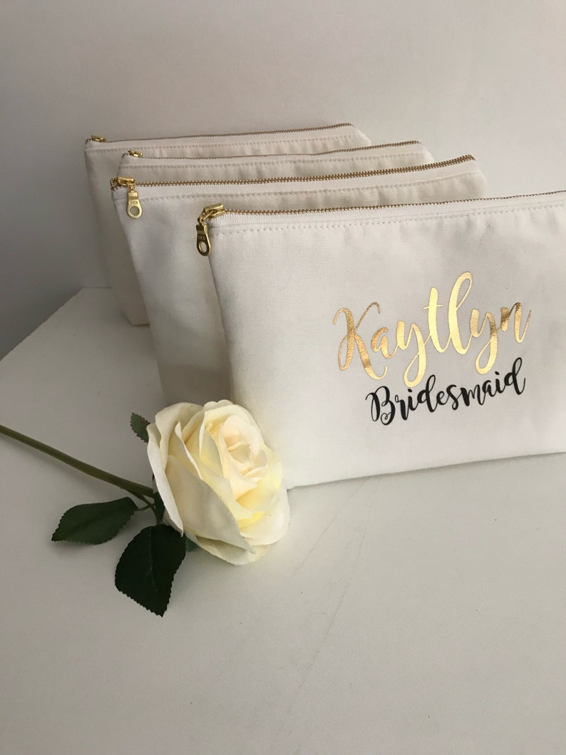 Cosmetic Bag Personalised  Bridesmaid Cosmetic Pouch  image 0