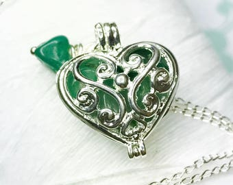 Worry Locket - Green Adventurine heart locket / heart locket / silver locket / May necklace / raw uncut adventurine/ locket