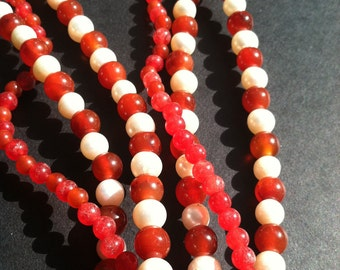 Natural Stone bead necklace, 3 strand beads, pearls and red jade, mothers day gift, multi strand necklace, layered beads, handmade in NYC