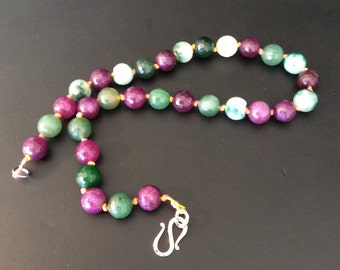 Natural Stone bead necklace, Purple, green beaded necklace, Handmade in NYC. one of a kind, round faceted beads, multi colored necklace