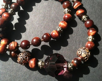 Natural tiger eye Stone bead necklace, Hand made in NYC, Tiger Eye necklace, Lucky, Protective Jewelry