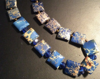 Marbled Blue square stone beads, Bright Colorful, All Natural Stone, square beads, one of a kind, Handmade in NYC, Blue necklace