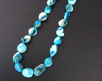Natural Stone bead necklace, Handmade in NYC, Blue Shell beads, One of a Kind, Mermaid /necklace