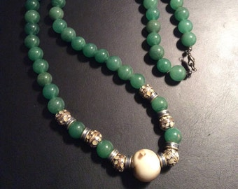 Natural Stone bead necklace, Jade stone necklace, green beads, ornate beads, handmade in NYC, one of a kind