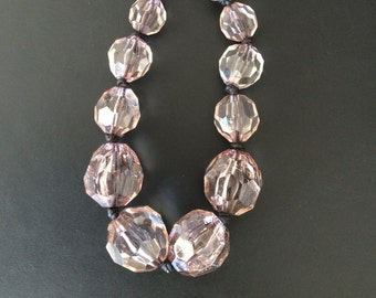 Vintage acrylic bead necklace, large smokey clear beads, Handmade in NYC, One of a Kind