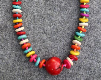 Multi Colors, rainbow beads necklace, natural stone beads, handmade, lobster clasp