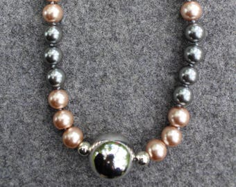 Multi color Pearls, silver ball bead, champagne pearl, grey pearl, handmade in NYC