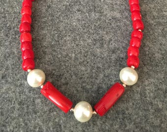 Red coral necklace, natural Coral beads, pearl and gold bead details, lobster clasp , hand strung necklace, one of a kind design
