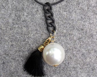 Giant Pearl and tassel, modern necklace, handmade jewelry, black an white jewelry