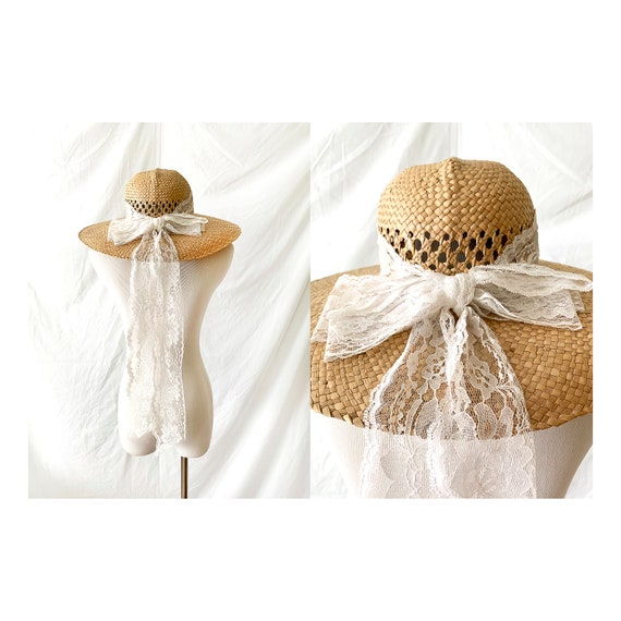 Vintage Straw Hat with White Lace Bow, Wide Brimme