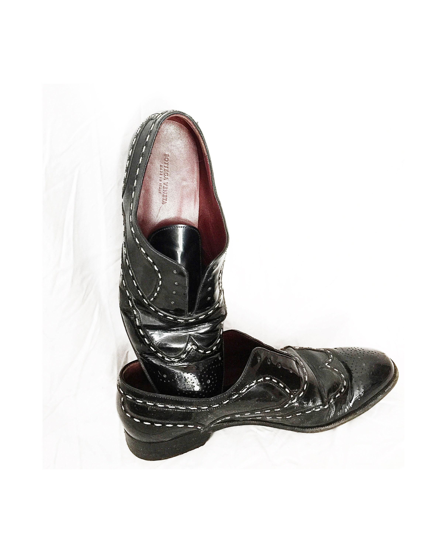 Bottega Veneta Oxfords Black Patent Leather Shoes White Contrast Stitch Italian Leather Loafers Slip On Patent Leather Eu 38 5 Us 8 5