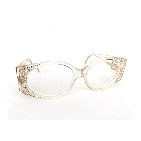 60s GIVENCHY Lucite and Rhinestone Eyeglasses, Vin