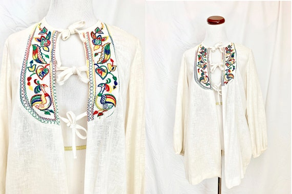 Vintage Hungarian Folk Blouse, 1960's  Embroidered