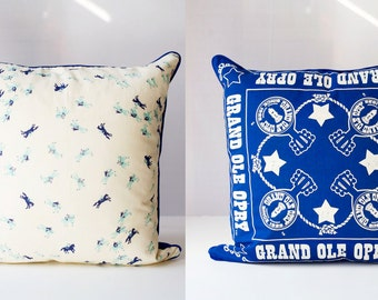 GRAND OLE OPRY & Ponies | Vintage Scarf Pillow Cover |  Blue + White Home Decor | Handmade ooak | Western, Country Music, Nashville
