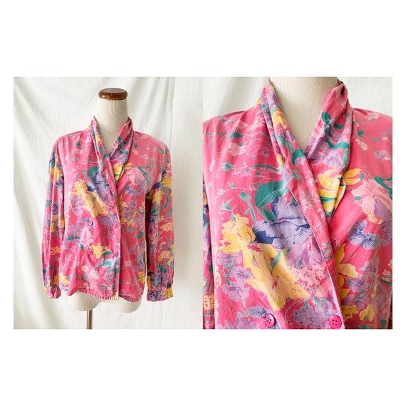 Vintage 80s Floral Shawl Collar Blouse, 1980s Vint