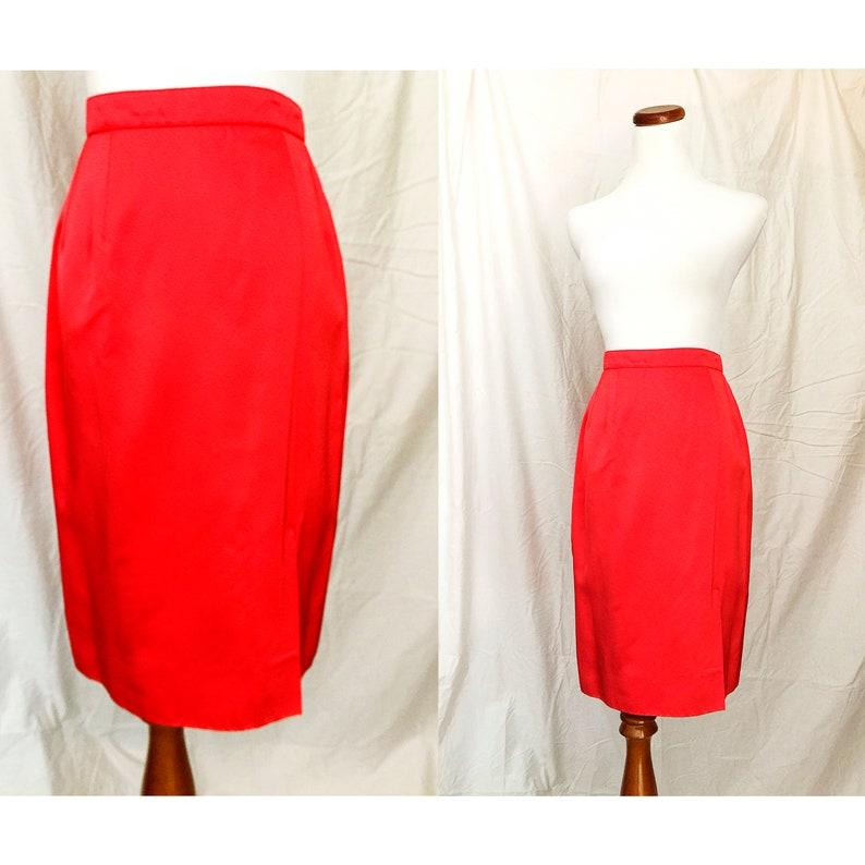 c196d800f5 Satin Silk Pencil Skirt Candy Apple Red Vintage Designer   Etsy