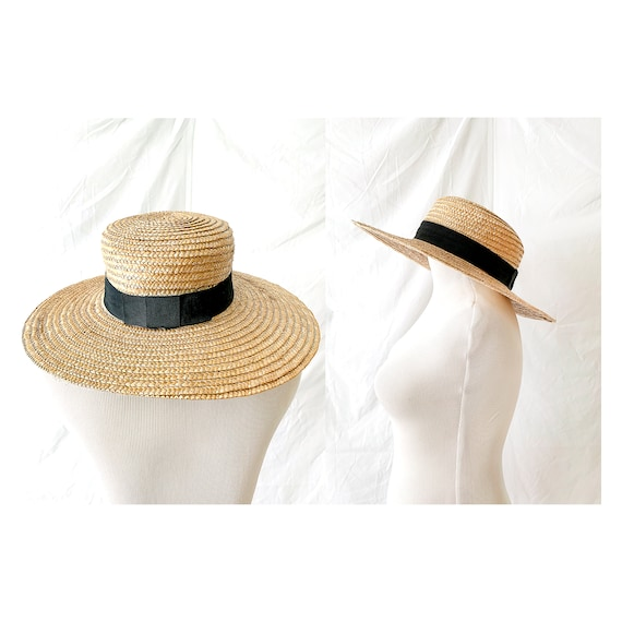 French Vintage Straw Hat, Wide Brimmed Sun Hat, Bl