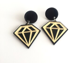 DIAMOND Shape Lucite and Mirror Earrings . Plexiglas . GOLD and BLACK