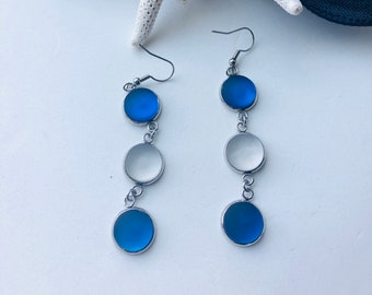 Dangly Cobalt Blue Cultured Sea Glass Earrings for Women, Best Selling Items, Birthday Gift, Best Friend Gift, Gift Under 25, Beach Jewelry
