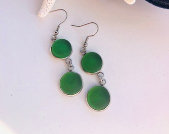 Dangly Green Cultured Sea Glass Earrings, Green Glass, Best Selling Items, Birthday Gift, Best Friend Gift, Gift Under 25, Beach Jewelry