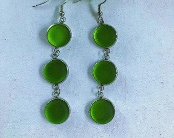 Dangly Shamrock Green Cultured Sea Glass Earrings, Best Selling Items, Birthday Gift, Best Friend Gift, Gift Under 25, Beach Jewelry