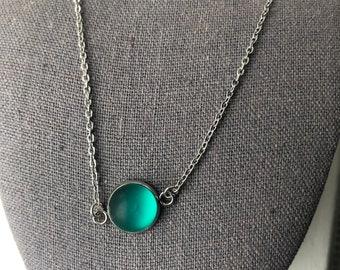 Bright Green Sea Glass Necklace, Beach jewelry, Birthday Gift, women's Jewelry, Best Selling Item, Contemporary Jewelry, Sea glass jewelry