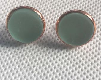 Sea foam Green Seaglass Stud Earrings with Rose Gold Setting, Stud Earrings, Seaglass jewelry, best friend gift, gift under 25, beach glass