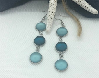 Dangly Sea foam Green and Aquamarine Sea Glass Dangly Earrings, Best Selling Items, Birthday Gift, Best Friend Gift, Gift Under 25