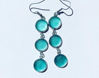 Dangly Sea foam Green Cultured Sea Glass Earrings, Best Selling Items, Birthday Gift, Best Friend Gift, Gift Under 25, Beach Jewelry