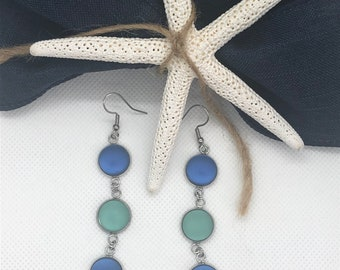 Dangly Sea foam Green and Cobalt Blue Sea Glass Dangly Earrings, Best Selling Items, Birthday Gift, Best Friend Gift, Gift Under 25,mom gift