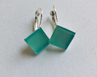 Sea foam Green Cultured Sea Glass Lever-back Earrings for Women, Best Selling Items, Best Friend Gift, Birthday Gift, Gift under 20