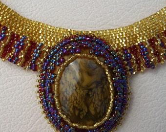 Handcrafted Beaded Cabachon Necklace