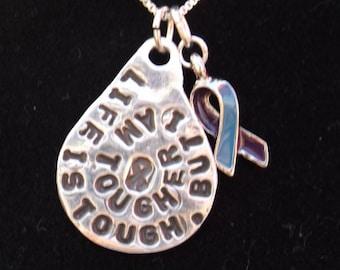 Life is Tough RA Awareness necklace, Rheumatoid Arthritis Awareness Ribbon necklace, RA Awareness Jewelry, Purple and Blue ribbon