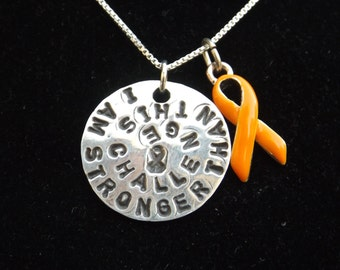 Stronger than Challenge, Multiple Sclerosis Awareness necklace, MS Awareness, Leukemia Awareness necklace, Orange Awareness ribbon charm