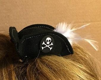 f5ec5b94b2e Mini pirate hat - black - buccaneer clip on hat - three corner mini hat