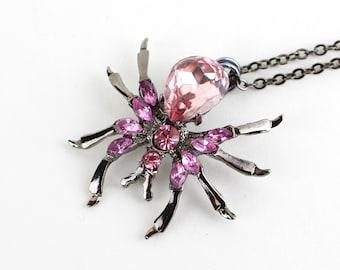 Vintage Rhinestone Necklace - Pink Spider Necklace - Spider Jewelry - Spider Pendant