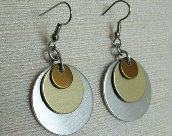 Triple Disk Chainmaille Earrings in Silver, Gold, and Bronze