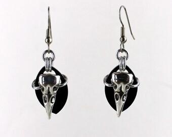 Crow Skull Earrings - Black Earrings - Black Dangle Earrings - Goth Earrings - Skull Jewelry
