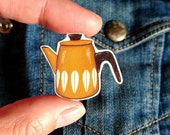 Retro Catherine Holm inspired Yellow coffee pot pin brooch.