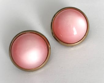 Vintage Pink Moonglow Lucite Dome Earrings Clip On Gold Tone Metal Frame