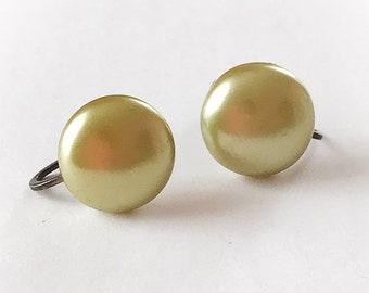 Vintage Green Pearlescent Dome Earrings Screw Backs