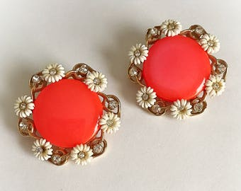 Vintage Mod Moonglow Lucite Neon Orange Earrings with Flower Rhinestone Frame Clip On