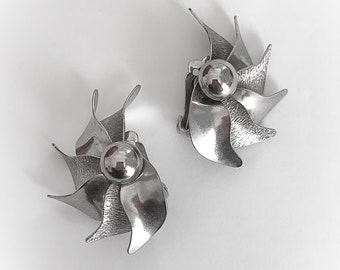 Vintage Half Pinwheel Silver Tone Metal Earrings Clip On