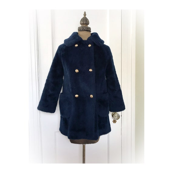Vintage Teddy Bear Coat Navy Blue by White Stag