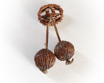 Vintage Dangling Nut Brooch