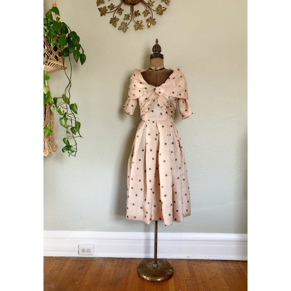 Vintage 1950s Rappi Polka Dot Dress Tan and Black