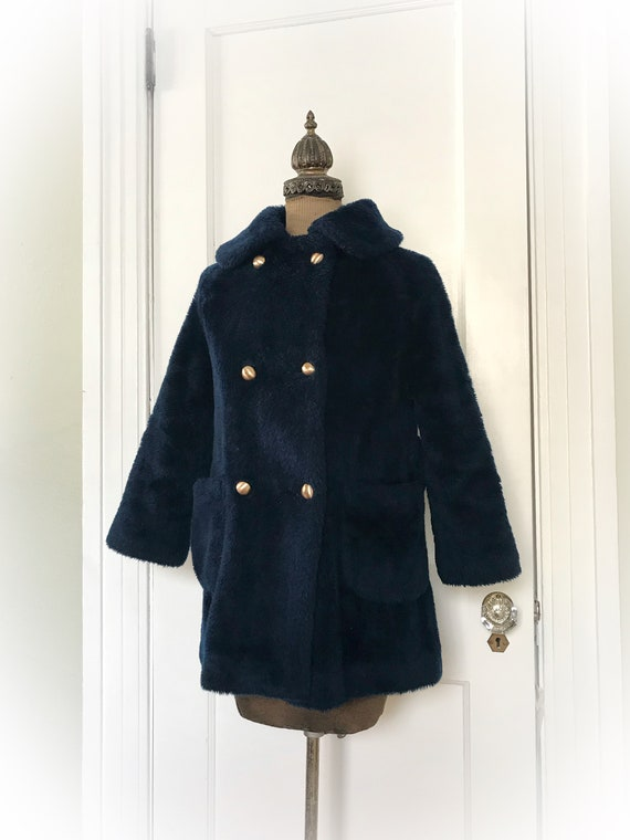 san francisco meet designer fashion Vintage Teddy Bear Coat Navy Blue by White Stag