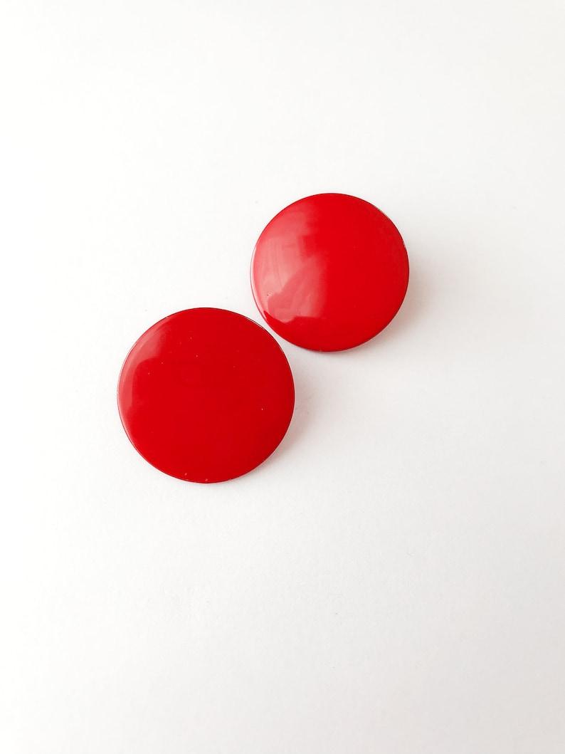 Vintage Red Enamel Earrings Clip On
